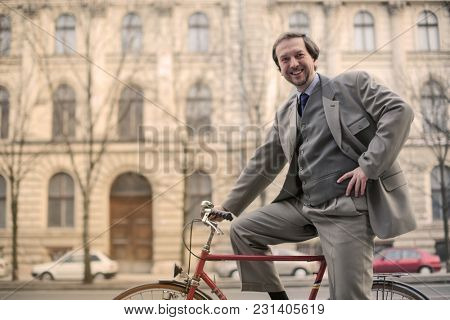 Smart man riding in the city