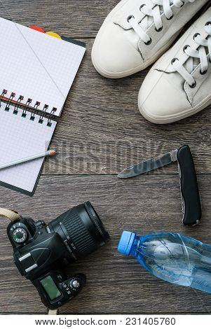 Outfit Of Traveler Or Student. Overhead Of Essentials For Modern Young Person. Different Objects On