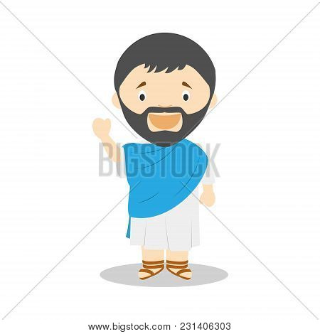 Thales Of Miletus Cartoon Character. Vector Illustration. Kids History Collection.