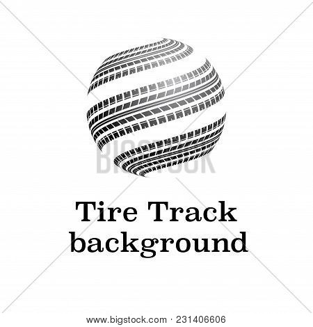 Black Tire Track Silhouettes In Circle Path Isolated On Wgite Background