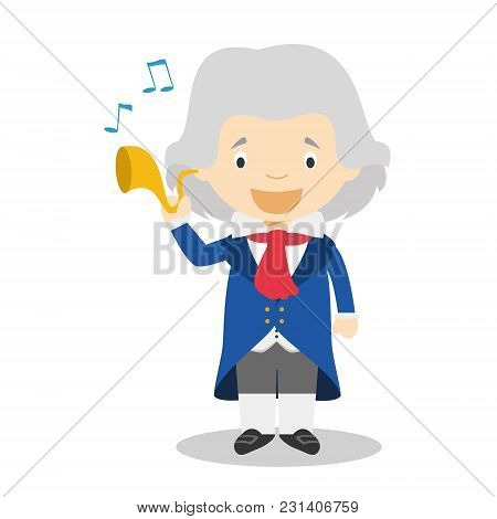 Ludwing Van Beethoven Cartoon Character. Vector Illustration. Kids History Collection.