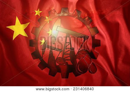 Oil Rig On The Background Of The Flag Of China. Mixed Environment. The Concept Of Oil Production, Mi