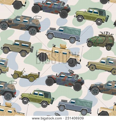 Military Vehicle Vector Army Car And Armored Truck Or Armed Machine Illustration Set Of War Transpor