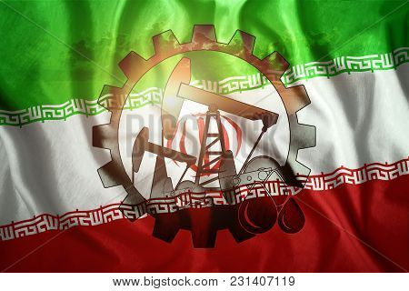 Oil Rig On The Background Of The Flag Of Iran. Mixed Environment. The Concept Of Oil Production, Min