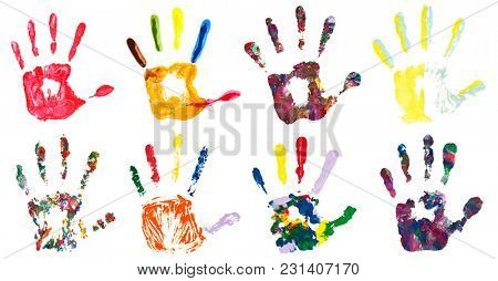 Set of colorful hand prints, isolated on white background. Collection of color art hand painted.