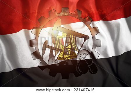 Oil Rig On The Background Of The Flag Of Egypt. Mixed Environment. The Concept Of Oil Production, Mi