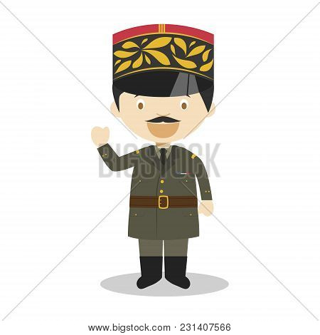 Charles De Gaulle Cartoon Character. Vector Illustration. Kids History Collection.