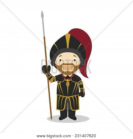 Charles I Of Spain And V Of Germany Cartoon Character. Vector Illustration. Kids History Collection.
