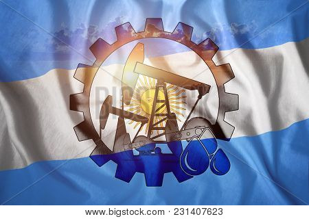 Oil Rig Against The Background Of The Flag Of Argentina. Mixed Environment. The Concept Of Oil Produ