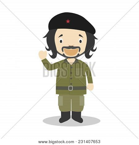Che Guevara Cartoon Character. Vector Illustration. Kids History Collection.