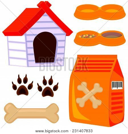 Colorful Cartoon Dog Pet Care Icon Set. Vector Illustration For Gift Card, Flyer, Certificate Banner