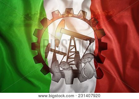Oil Rig Against The Background Of The Flag Of Italy. Mixed Environment. The Concept Of Oil Productio