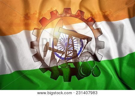 Oil Rig On The Background Of The Flag Of India. Mixed Environment. The Concept Of Oil Production, Mi