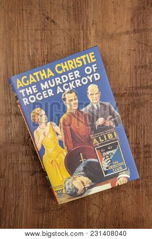 Madrid, Spain, March, 5, 2018. The Murder Of Roger Ackroyd, A Detective Novel By Agatha Christie, On