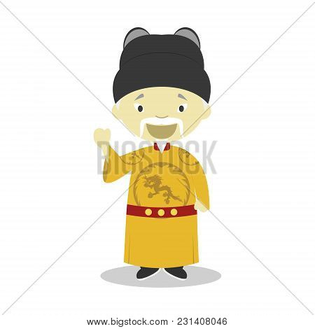 Emperor Ming Hongwu Cartoon Character. Vector Illustration. Kids History Collection.