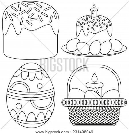 Line Art Black And White Easter Candle Egg Basket Cake Icon Set. Coloring Book Page For Adults And K