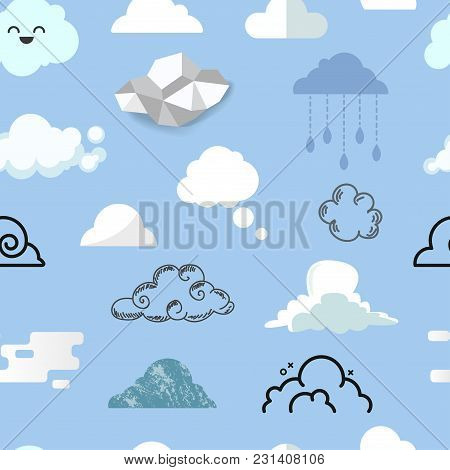 Cloud Icon Different Style Vector Icons Cloudy Design Nature Sky Shape Cloudscape Bubble Speech Illu