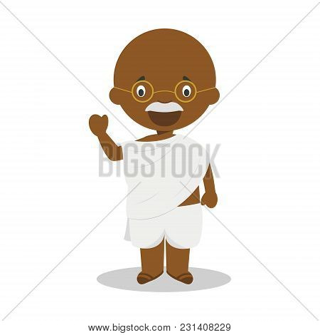 Gandhi Cartoon Character. Vector Illustration. Kids History Collection.