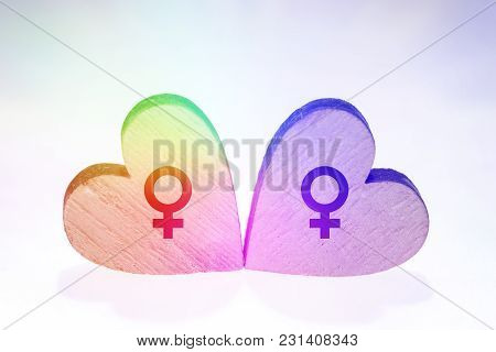 Two Hearts In Rainbow Colors, Symbol Of Homosexual Movement