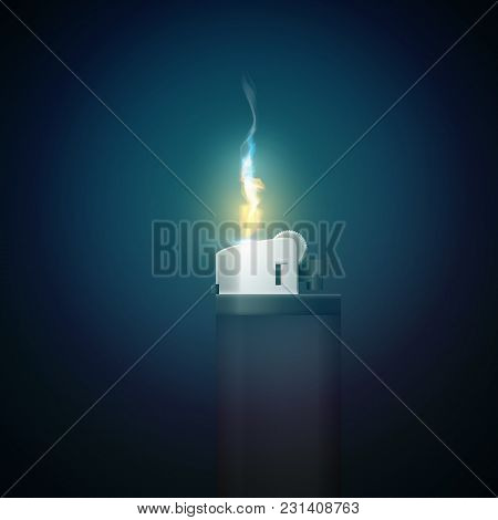 Realistic 3d Style Gas Lighter Template With Fire In The Dark And Radiant Lighting Vector Illustrati