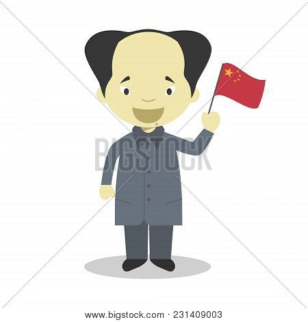 Mao Zedong Cartoon Character. Vector Illustration. Kids History Collection.