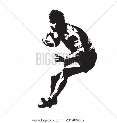 Rugby Player With Ball, Team Sport. Isolated Vector Silhouette