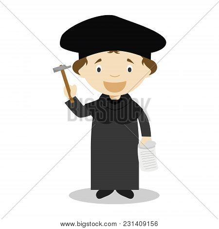 Martin Luther Cartoon Character. Vector Illustration. Kids History Collection.