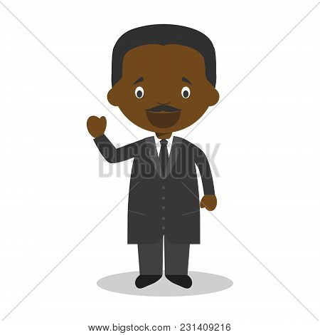 Martin Luther King Jr Cartoon Character. Vector Illustration. Kids History Collection.