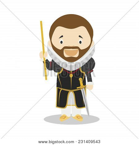 Philip Ii Of Spain Cartoon Character. Vector Illustration. Kids History Collection.
