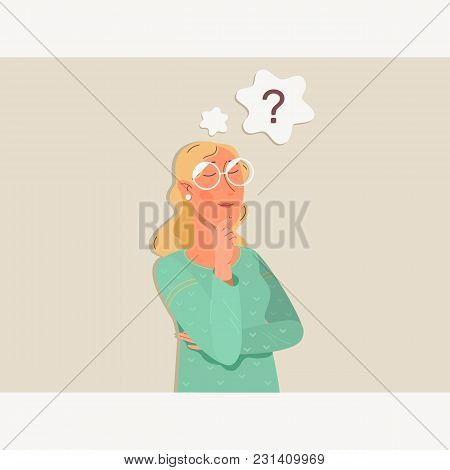 Woman Is Thinking. Question Mark.vector Flat Cartoon Illustration Character Icon