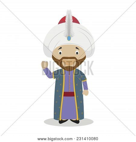 Sultan Mehmed Ii (the Conqueror) Cartoon Character. Vector Illustration. Kids History Collection.