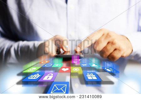 Smartphone With Applications Icons In Businessman Hands, Apps Development Concept