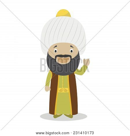 Sultan Othman I Cartoon Character. Vector Illustration. Kids History Collection.