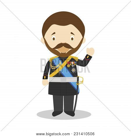 Tsar Nicholas Ii Of Russia Cartoon Character. Vector Illustration. Kids History Collection.