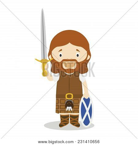 William Wallace Cartoon Character. Vector Illustration. Kids History Collection.