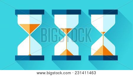Hourglass Icons Set In Flat Style, Sandglass On Blue Background. Vector Design Elements For You Proj