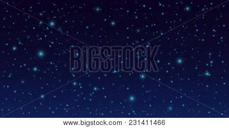 Dark Sky With Shining Stars. Vector Night Sky Background