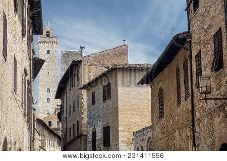 San Gimignano, Siena, Tuscany, Italy: The Historic Town At Morning With Its Famous Towers