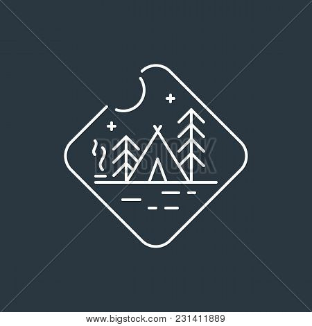 Camping Badge Logo. Night Camping Badge. Native American Teepee Tent, Pine Trees And Camp Fire With