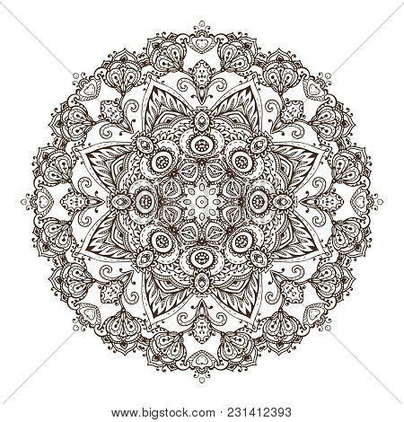 Vector Mandala Pattern Of Henna Floral Elements Based On Traditional Asian Ornaments. Paisley Mehndi