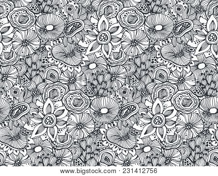 Beautiful Seamless Pattern With Hand Drawn Floral Fantasy Nature Motif, Flowers, Plants, Branches. B