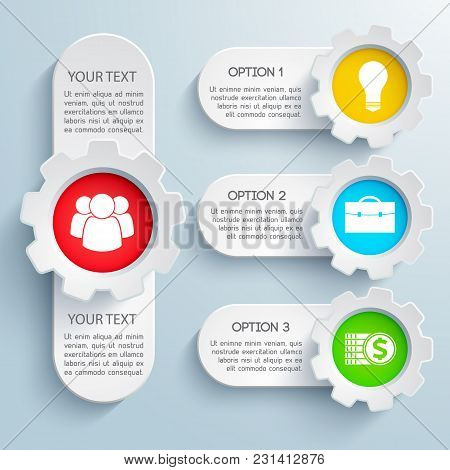 Web Design Business Banners Set With Colorful Icons And Text Field Isolated On Grey Background Flat