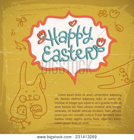 Happy Easter Doodle Card With Congratulation Text And Hand Drawn Easter Rabbits Flat Vector Illustra