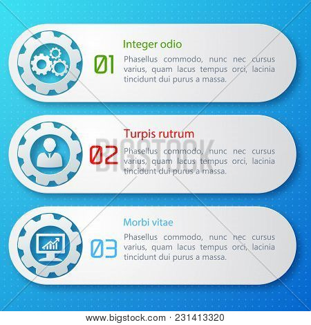 Flat Design Business Set Of Three Numbered Banners With Text Field Isolated Vector Illustration