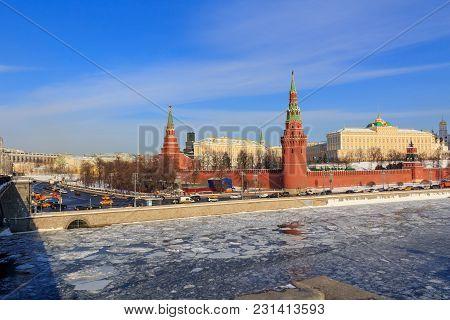 Moscow Kremlin In Winter. View From Sofiyskaya Embankment