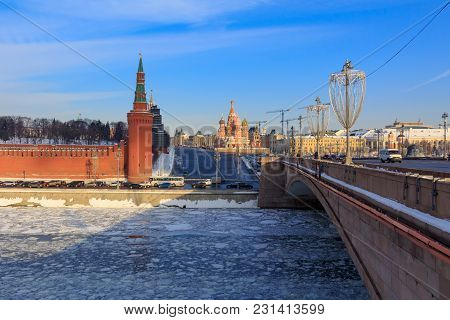 Vasil'yevskiy Spusk On Red Square In Moscow. View From Bol'shoy Moskvoretskiy Bridge