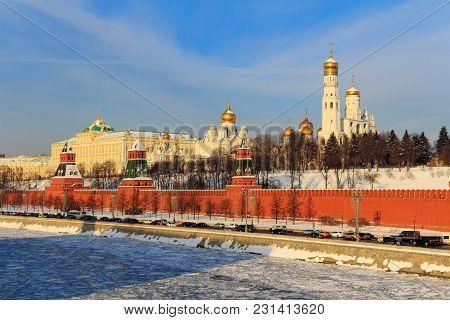Kremlevskaya Embankment On The Background Of Moscow Kremlin On A Sunny Winter Morning