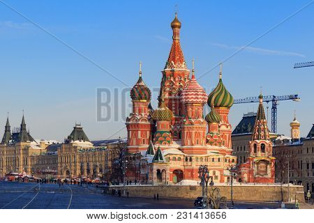 St. Basil's Cathedral Near The Moscow Kremlin In Winter