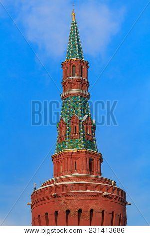 Moskvoretskaya Tower Of The Moscow Kremlin Against The Blue Sky