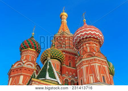 Domes Of St. Basil's Cathedral In The Rays Of The Winter Sun